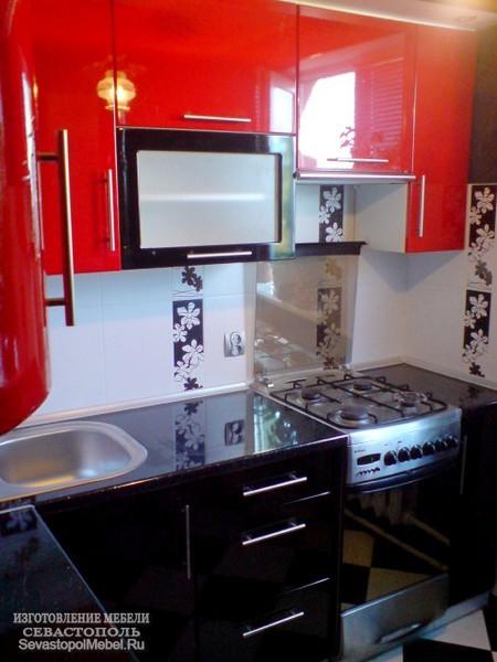 Кухня мдф в красно черных тонах кухни